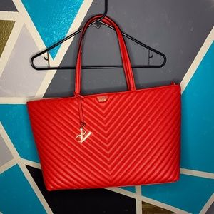 Red Victoria Secret Quilted Tote Purse